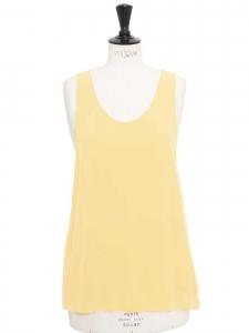 ICONIC Pale yellow silk crepe tank top Retail price €390 Size 36