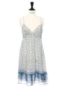 Blue and beige floral print silk chiffon dress with thin straps Size 36