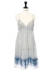 Robe empire à fines bretelles en mousseline de soie imprimée fleuri bleu Taille 36