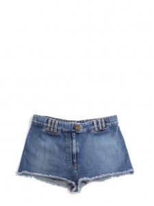 Mini short à franges en jean bleu brut Px boutique 380€ Taille 40