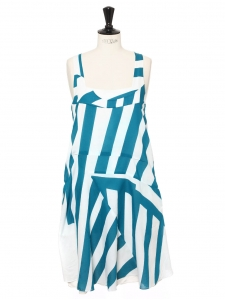 White and azure blue striped cotton dress with large straps Retail price €1100 Size S