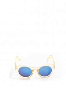 Lunettes de soleil monture ronde transparente jaune verres miroirs bleu azur NEUVES
