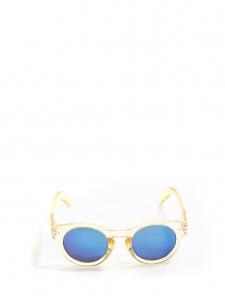 Yellow transparent frame round shape sunglasses with azure blue mirror lenses NEW