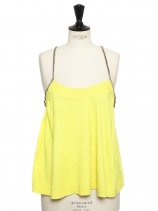 Bright neon yellow open back cocktail top with crystal straps Retail price €900 Size S/M