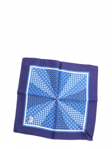 Majorelle blue and navy blue polka dot print silk small square scarf