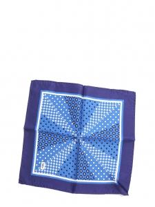 Petit foulard carré en soie imprimé pois bleu majorelle et bleu marine