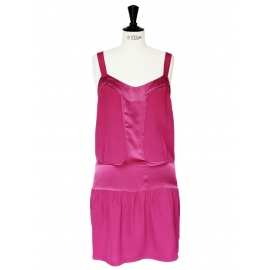 Raspberry pink silk strap dress Size 38