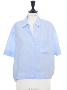 Chemise manches courtes large et courte en lin bleu clair Prix boutique 170€ Taille S à M