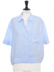 Short sleeves large and cropped light blue linen shirt Retail price €170 Size S to M