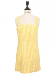 Mini robe style années 70 cintrée bretelles larges en coton blanc rayé jaune Taille 34