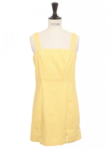 Seventies style yellow and white cotton striped cinched dress with large straps Size XS