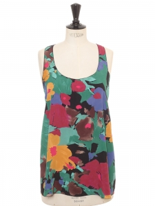 Yellow pink green blue and black floral print silk tank top Retail price €250 Size 36