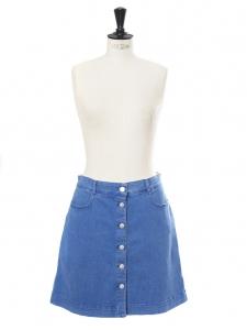 Ultra blue denim buttoned skirt Retail price €345 Size 36