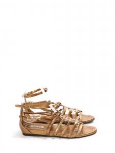 Sandales plates gladiator en cuir métallisé doré Prix boutique 550€ Taille 36