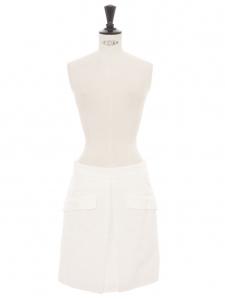 Jupe taille haute trapèze en coton mélangé blanc à fines rayures Prix boutique 465€ Taille 36
