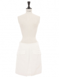 White cotton blend with thin stripes A line high waist skirt Retail price €465 Size 36