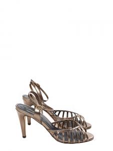 Sandales à talon et bride cheville BELINDA en cuir doré NEUVES Px boutique 420€ Taille 39