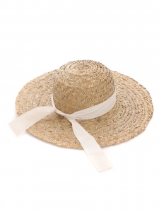 Large light beige straw sunhat
