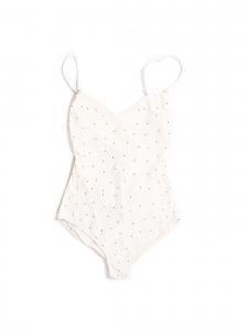 Maillot de bain une pièce décolleté plongeant dos nu blanc et studs dorés Px boutique 300€ Taille 38