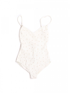 Open back and plunging décolleté white and gold studs one piece swimsuit NEW Retail price €300 Size M