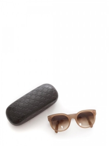 Light beige brown round sunglasses with brown smoked lens Retail price €360