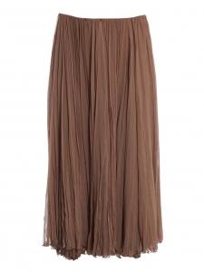 CHLOE Light brown plissé-chiffon maxi skirt Retail price €1500 Size 38/40