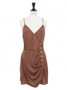 LAMIA brown satin V neck dress with thin straps and buttons Retail price €155 Size 38