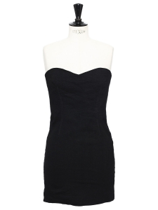 COLIN Black stretch linen strapless dress Retail price €320 Size XS