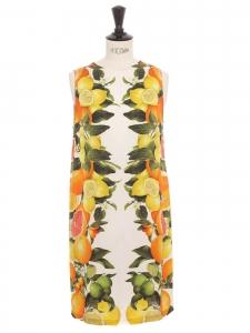 Robe sans manche en soie blanc ivoire imprimée jaune citron vert et orange Prix boutique €1000 Taille 36