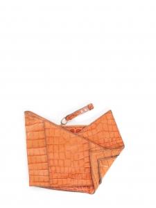 Pochette du soir clutch en cuir embossé croco orange Prix boutique 750€
