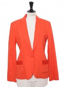 Veste blazer cintré en lin mélangé orange corail Prix boutique 190€ Taille 38