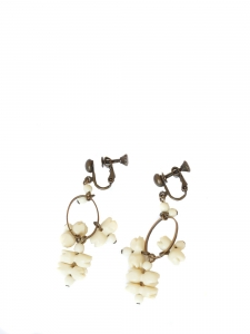 Bronze and ivory white beads pendant clip earrings Retail price €170