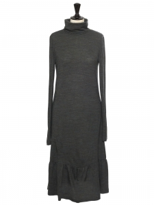 Heather grey green wool blend maxi dress with long sleeves Size 3