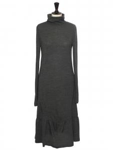 Robe longue manches longues en laine mélangée vert gris chiné Taille 3