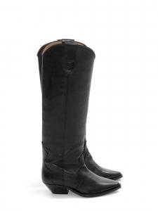 DENVEE Black leather cow boy heel boots NEW Retail price €690 Size 38