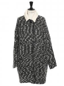 Manteau en laine bouclée mohair et alpaga blanc chiné noir Prix boutique 450€ Taille 2