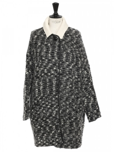 White black and grey alpaga, mohair and bouclé wool blend coat Retail price €450 Size 2