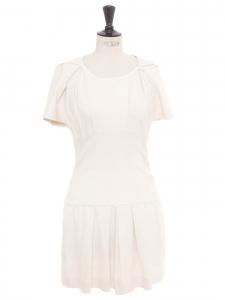 Short sleeves ecru cotton dress Retail price €400 Size 36/38