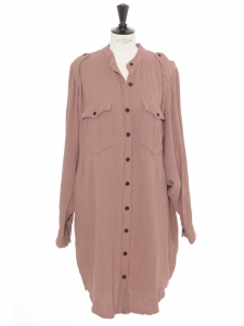 JASIA old pink woven cotton long sleeves buttoned shirt dress Retail price €320 Size 40
