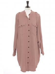 Robe chemise Jasia manches longues en coton rose ancien Prix boutique 320€ Neuve Taille 40