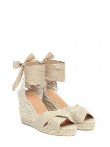 Sandales espadrilles à talons compensées en toile beige Taille 36
