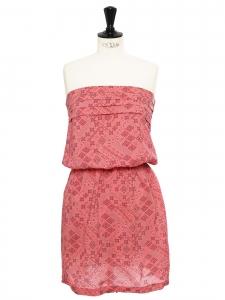 OPULENCE Pink cotton bandana print strapless dress Size 36