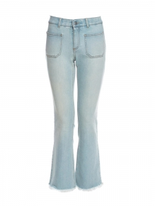 Frayed-hem mid-rise flared cropped light blue front pocket jeans Retail price €275 Size 27