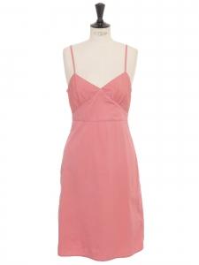 Robe courte à fines bretelles en coton rose Taille 34/36