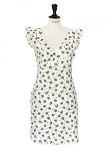 Robe à volants en piqué de coton blanc fleuri rose et vert Prix boutique 300€ Taille 36
