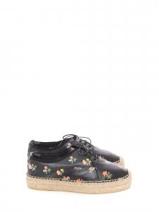 Espadrilles Grunge Flower plates à lacets en jute et cuir noir fleuri rose jaune Prix boutique 500€ Taille 40