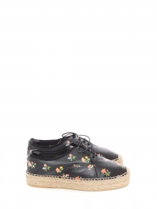 Grunge flower print black leather laced espadrilles shoes Retail price €500 Size 40