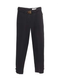 High waist black wool piqué pants with gold belt Retail price €890 Size 38