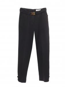Pantalon taille haute en piqué de laine noir ceinture doré Prix boutique 890€ Taille 38