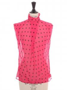 Top sans manche en voile de soie rose fushia à poir noir Prix boutique 890€ Taille 36